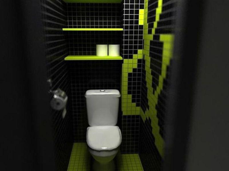Плитка уложенная в туалете, интересное решение