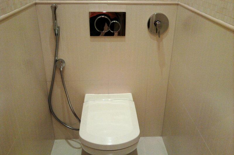 Установка встроенного гигиенического душа в туалет в Минске